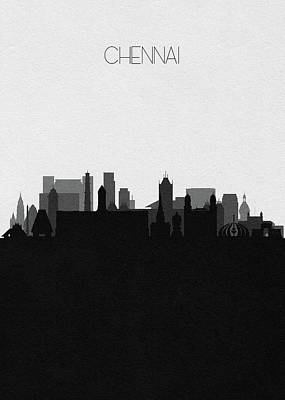 Digital Art - Chennai Cityscape Art by Inspirowl Design