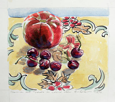Painting - Cherries And Tomato On A Colored Cloth by Ann Heideman