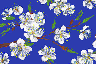 Royalty-Free and Rights-Managed Images - Cherry Blossoms Blue Sky Floral Impressionism by Irina Sztukowski