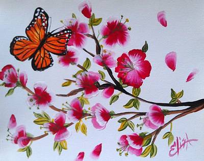 Wall Art - Painting - Cherry Blossoms Butterfly by Elisa Gabrielli