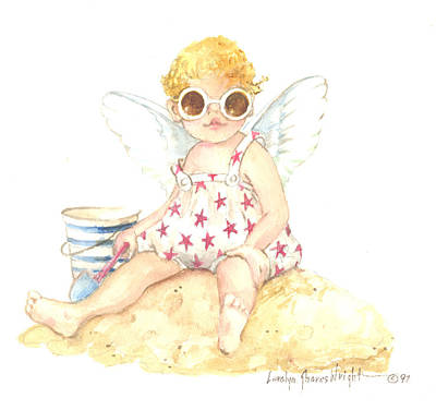 Wall Art - Painting - Cherub In The Sand by Carolyn Shores Wright
