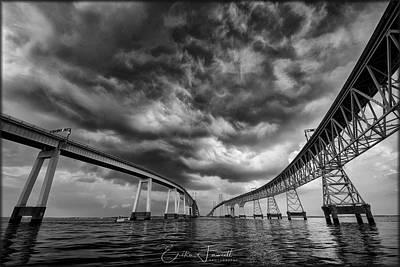 Photograph - Chesapeake Bay Bridge Storm Bw by Erika Fawcett