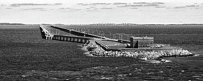 Photograph - Chesapeake Bay Bridge Tunnel E S V A Black And White by Bill Swartwout Photography