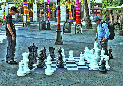 Photograph - Chess Game On A Large Scale - Seattle by Allen Beatty