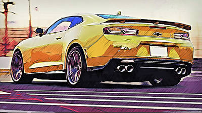 Painting - Chevrolet Camaro Zl1 - 52 by Andrea Mazzocchetti