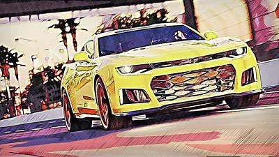 Painting - Chevrolet Camaro Zl1 - 53 by Andrea Mazzocchetti
