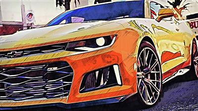 Painting - Chevrolet Camaro Zl1 - 54 by Andrea Mazzocchetti