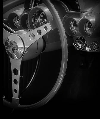 Photograph - Chevrolet Corvette Red 1962 Bw by Susan Candelario