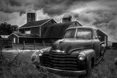 Photograph - Chevrolet In The Countryside In Black And White by Debra and Dave Vanderlaan