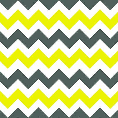 Digital Art - Chevron Pattern In Limelight Yellow Grey And White by Taiche Acrylic Art