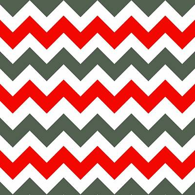 Digital Art - Chevron Pattern In Poppy Red Grey And White by Taiche Acrylic Art
