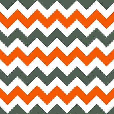 Digital Art - Chevron Pattern In Russet Orange Grey And White by Taiche Acrylic Art
