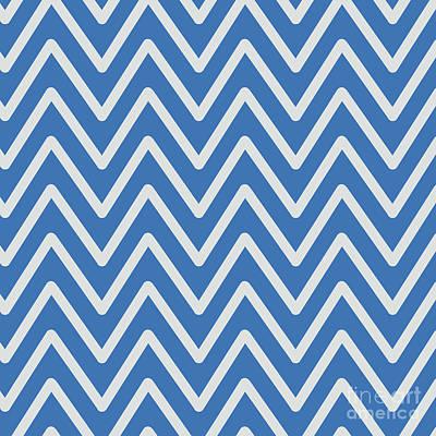 Digital Art - Chevron Wave Azure Strong Blue by Sharon Mau
