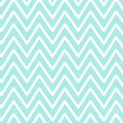 Digital Art - Chevron Wave Vivid Blue by Sharon Mau