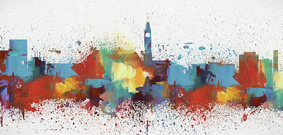 Painting - Cheyenne Wyoming Colorful Skyline by Dan Sproul