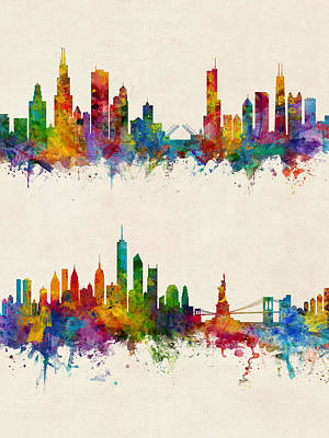 Digital Art - Chicago And New York City Skylines by Michael Tompsett
