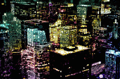 Mixed Media - Chicago City Lights by Susan Maxwell Schmidt