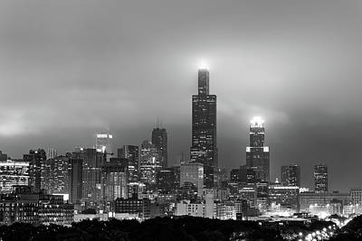 Photograph - Chicago City Skyline Architecture With Cloudy Skies - Black And White by Gregory Ballos