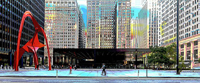 City Sunset Mixed Media - Chicago Federal Center by Charles Shoup