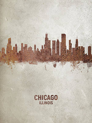 Digital Art - Chicago Illinois Rust Skyline by Michael Tompsett