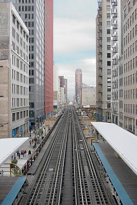 Photograph - Chicago Loop Train Tracks by Christian Petersen-clausen