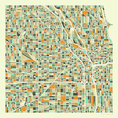 City Digital Art - Chicago Map 1 by Jazzberry Blue
