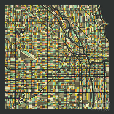 University Of Illinois Digital Art - Chicago Map 2 by Jazzberry Blue