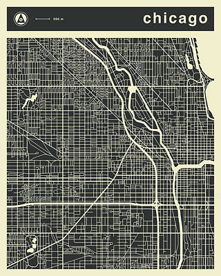 City Digital Art - Chicago Map 3 by Jazzberry Blue