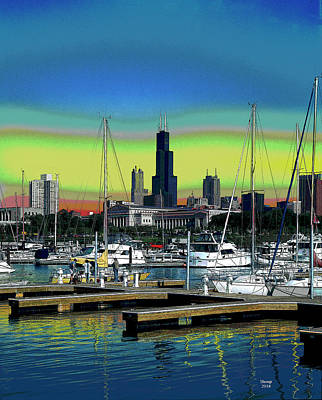 City Sunset Mixed Media - Chicago Marina by Charles Shoup