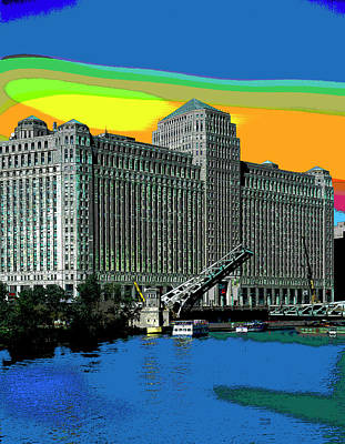 City Sunset Mixed Media - Chicago Merchandise Mart by Charles Shoup