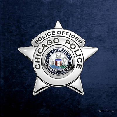 Digital Art - Chicago Police Department Badge -  C P D   Police Officer Star Over Blue Velvet by Serge Averbukh