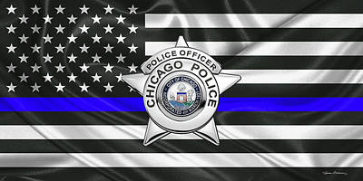Digital Art - Chicago Police Department Badge -  C P D   Police Officer Star Over The Thin Blue Line Flag by Serge Averbukh