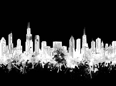 Digital Art Royalty Free Images - Chicago Skyline Black And White 2 Royalty-Free Image by Bekim Art