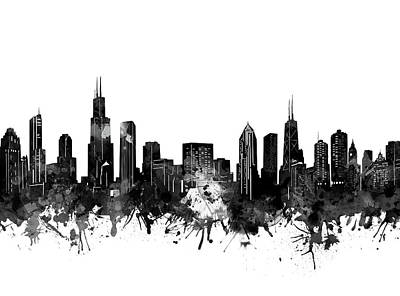 Skylines Royalty-Free and Rights-Managed Images - Chicago Skyline Black And White by Bekim Art