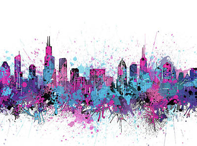 Skylines Royalty-Free and Rights-Managed Images - Chicago Skyline Color Splatter by Bekim Art