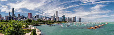 Transportation Royalty-Free and Rights-Managed Images - Chicago Skyline Daytime Panoramic by Adam Romanowicz