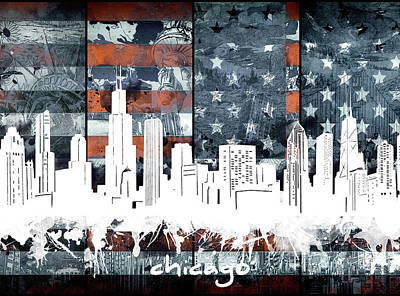 Skylines Royalty-Free and Rights-Managed Images - Chicago Skyline Flag 2 by Bekim Art