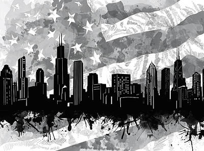 Abstract Skyline Royalty-Free and Rights-Managed Images - Chicago Skyline Flag by Bekim M