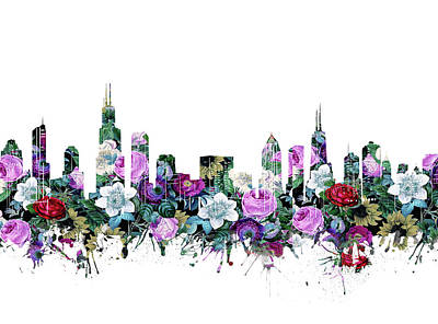 Skylines Royalty-Free and Rights-Managed Images - Chicago Skyline Floral 2 by Bekim Art