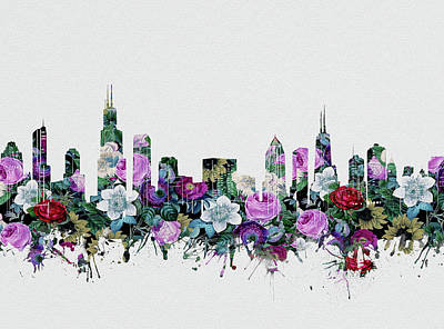 Skylines Royalty-Free and Rights-Managed Images - Chicago Skyline Floral by Bekim Art