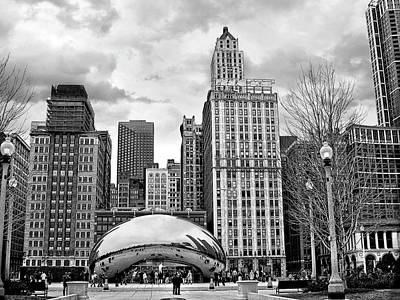 Grant Park Photograph - Chicago Skyline In Black And White by Tammy Wetzel