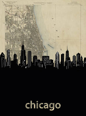 Skylines Royalty-Free and Rights-Managed Images - Chicago Skyline Map by Bekim Art