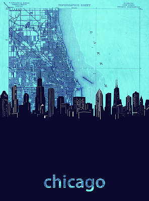 Skylines Royalty-Free and Rights-Managed Images - Chicago Skyline Map Blue 2 by Bekim Art