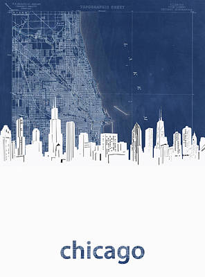 Skylines Royalty-Free and Rights-Managed Images - Chicago Skyline Map Blue by Bekim Art