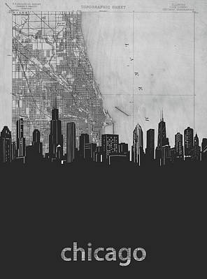 Skylines Royalty-Free and Rights-Managed Images - Chicago Skyline Map Grey by Bekim Art