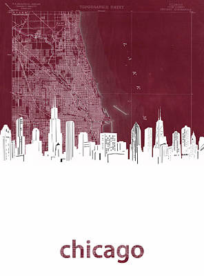 Skylines Royalty-Free and Rights-Managed Images - Chicago Skyline Map Red by Bekim Art
