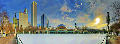 Photograph - Chicago Skyline Millennium Park Ice Rink by Tom Jelen