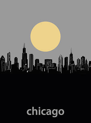 Skylines Royalty-Free and Rights-Managed Images - Chicago Skyline Minimalism 2 by Bekim Art