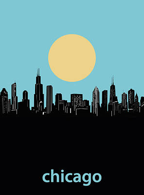 Skylines Royalty-Free and Rights-Managed Images - Chicago Skyline Minimalism 3 by Bekim Art