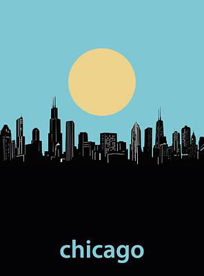 Digital Art Royalty Free Images - Chicago Skyline Minimalism 3 Royalty-Free Image by Bekim Art